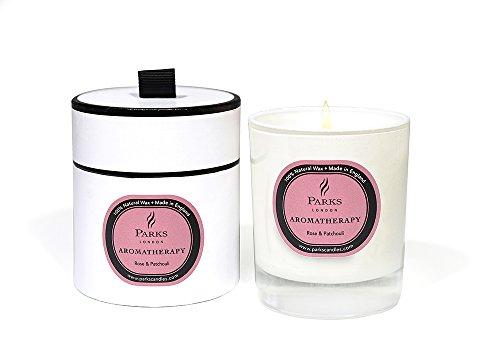 Parks London Aromatherapy Bougie naturelle Rose & Patchouli 235 g Coffret cadeau