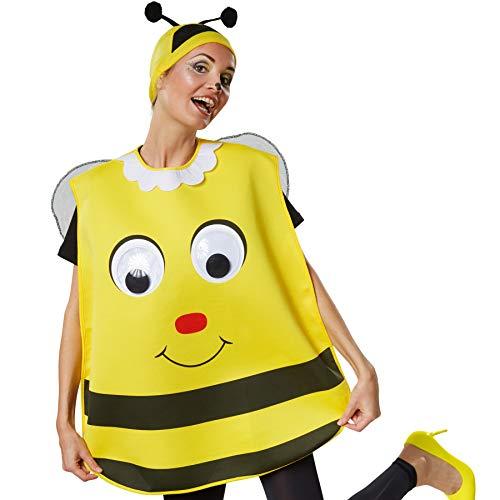 dressforfun 302194 - Unisex Kostüm Biene, Poncho in Einheitsgröße, Mütze in schwarz-gelb mit Fühlern (Frau Bee Kostüm)