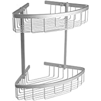 TATAY ICE - Cesta de ducha o bañera rinconera de aluminio, 2 alturas, 17,5 x 17,5 x 32 cm