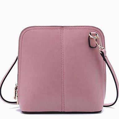 SUNNY KEY-Borsa a tracolla @ Donna Borsa a tracolla Vacchetta Per tutte le stagioni Casual Rotondi Cerniera Nero Rosa Vino , blushing pink black