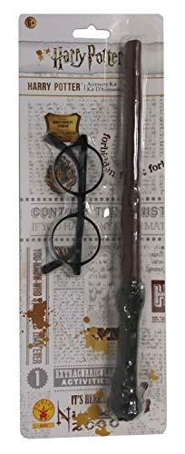 Rubie's IT5374 - Harry Potter Kit accessori, Bacchetta magica e occhiali, Taglia unica [ [L'imballaggio può variare]