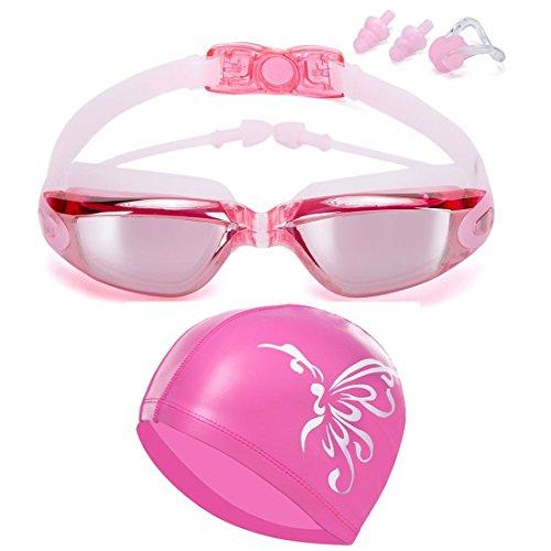 Schwimmbrillen für Damen + Badekappen / Bademütze / Schwimmkappe Mädchen Erwachsene, Schwimmbrille mit Antibeschlag und UV Schutz für Frauen kinder von Lolomoda (Pink)