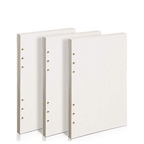 ZKSM 3 Packung Kariertes Papier (insgesamt 135 Blätter) 6 Löcher Nachfüllpapier A5 für Filofax A5, Notizen, DIY, Bullet Journal, Skizze, Malerei, 8,26 x 5,59 Zoll