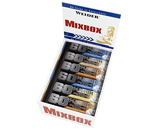 WEIDER 60{21dfa777b0b2c07cc9c12876ca6b4805b755a00116a2cc47d50bc5e46be176d6} Proteinriegel 45g Mix Box 24 leckere Eiweißriegel, Fitness und Bodybuilding