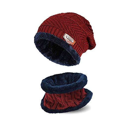 AYAMAYA Kinder Mütze Beanie und Schal Set - (5-14 Jahre) Warme Wintermütze Strickmütze Beanie für Jungen Mädchen, Fleecefutter (Rot) (Mütze Und Schal Für Kinder)