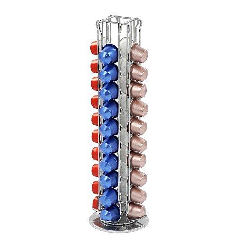 Portacapsule-In-Metallo-Per-Nespresso-Distributore-Rotante-Capienza-40-Capsule-4-Colonne-ARTUROLUDWIG