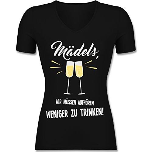 Statement Shirts - Mädels, Wir Müssen aufhören Weniger zu Trinken - XL - Schwarz - F281N - Tailliertes T-Shirt mit V-Ausschnitt für Frauen (T-shirt Mädchen Trinken)