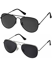 fc26905f066 Sheomy Unisex Sunglasses Combo Pack Of Silver Black Avaitors Sun Glasses  And Full Black Avaitor Glasses