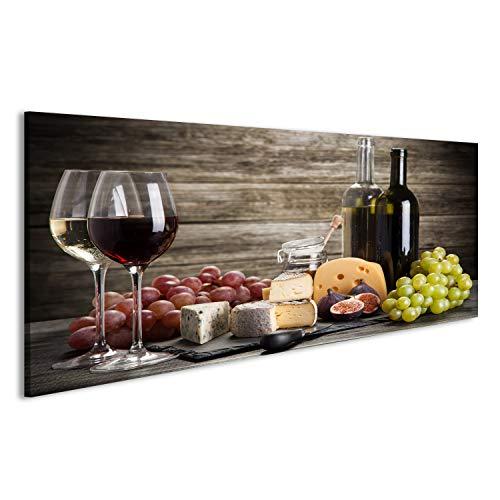 lder auf Leinwand Wein und Käse Stillleben Wandbild, Poster, Leinwandbild EYD-2 ()