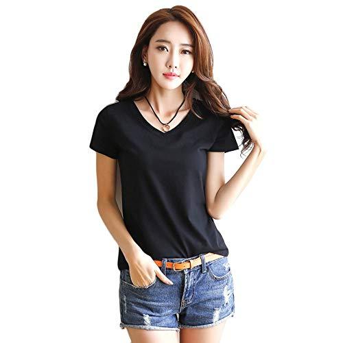 e9f002cd6aa Panamami Simple Design Women Summer Short Sleeve T-Shirt Casual Comfortable  Cotton Ladies All Match Clothes Shirt Tops - Black XL