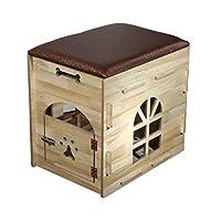 HYXI-Nid+d'Animal Litière en Bois pour Petit Chien Pet House Indoor Multi-Function Storage Nest -54 / 59cm (2 Couleurs)
