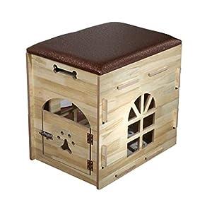 HYXI-Nid+d'Animal Litière en Bois Petit Chien Pet House intérieur Multi-Fonction nid de Stockage -54 / 59cm