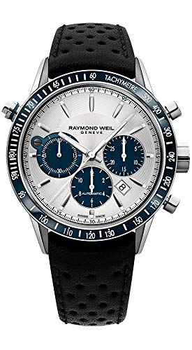 Raymond Weil Freelancer Steel Automatic Chronograph Mens Leather Strap Watch Silver Design Dial Date 7740-SC3-65521