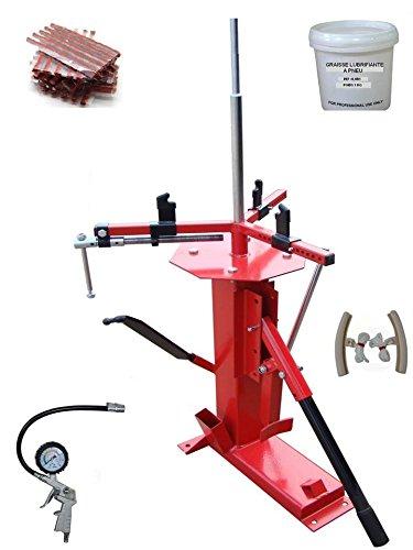 Equipment Express Sicoba Set zum manuellen Ab- und Aufziehen von Auto- und Motorradreifen bis 21Zoll + 60Dochte zur Reifenreparatur + 1Reifenfüllgerät + 2Felgenschutz + Reifenfett