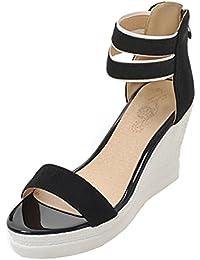 UH Damen Keilabsatz High Heels Plateau Sandalen Knöchelriemchen Pumps mit  Reißverschluss Bequeme Schuhe 95c3ac22e2