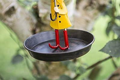 garden mile® Vintage Metal Hanging Chain Bird Feeder for Wild Birds   Rustic Antique Distressed Metal Bird Bath Table with Hanging Hook   Hanging Garden Decorations by Garden Mile®