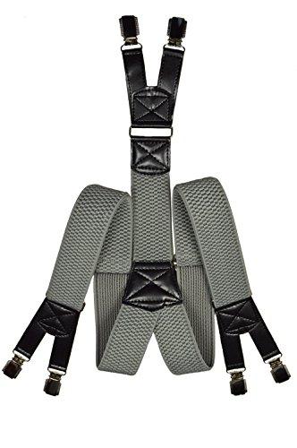Bretelles de Haute Qualité avec 6 Clips, Extra Fort - 4cm Gris