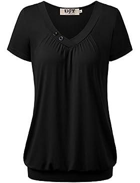 DJT-Camiseta Top para Mujer Mangas Cortas Escote V