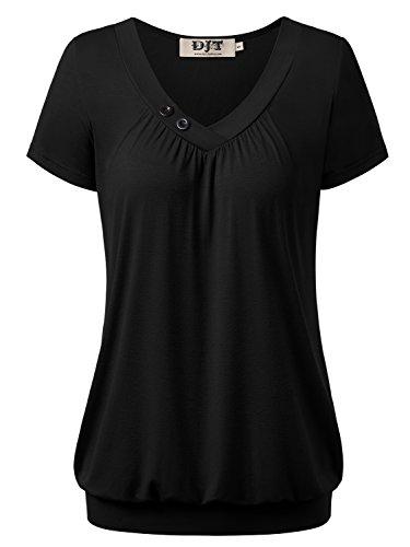 DJT Damen Basic V-Ausschnitt Kurzarm T-Shirt Falten Tops mit Knopf Schwarz L