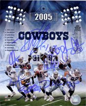 Signed Cowboys, Dallas (2005) 8x10 By Julius Jones, Roy WIlliams, La'Roi Glover, Larry Allen, Jason Witten, Demarus Ware, Drew Bledsoe, Terry Glenn and Keyshawn Johnson autographed - Julius Terry