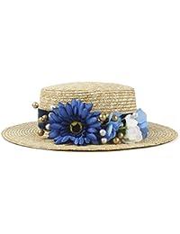 Gr Frauen Sommer Stroh Sonnenhut Mode Dame Sommer Wohnung Prok Kuchen Sunbonnet Boater Strand Hut mit Blume (Color : Dark Blue, Größe : 56-58cm)