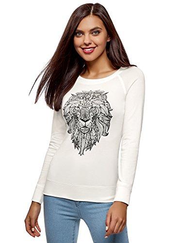 oodji Ultra Damen Damen Sweatshirt mit Druck und Raglan-Ärmeln, Weiß, DE 36 / EU 38 / S -