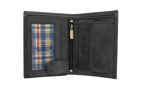Sirocco Kollektion (Floren SIROCCO Kollektion Leder Bi-Fold Wallet 4018-S Schwarz)