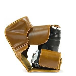 MegaGear Etui Souple en Cuir pour, Housse pour Panasonic Lumix DMC-GX8 Photo Compacts avec objectif 14-140mm (Marron Clair)