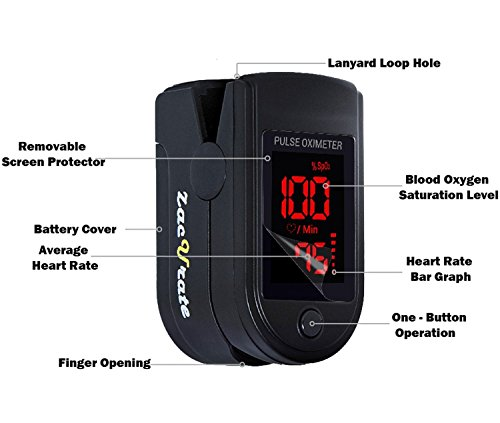 Zacurate Pro Series CMS 500DL Fingertip Pulse Oximeter Blood Oxygen Saturation Monitor With Silicone Cover Batteries And Lanyard