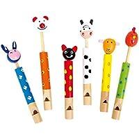 """Lotusflöte """"Flöten Tiere"""" aus Holz, sechs verschiedene lustige bunte Flöten mit süßen Tierköpfen, tolles Gastgeschenk an Kindergeburtstagen, ab 3 Jahre"""