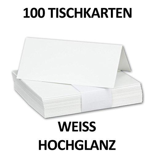 50 Stück // Hochglanz Tischkarten Weiß // Größe: 100 x 90 mm (gefaltet 100 x 45 mm) // 250 g/qm // Sehr schwere und stabile Qualität // Aus der Serie FarbenFroh von NEUSER! (250g Serie)