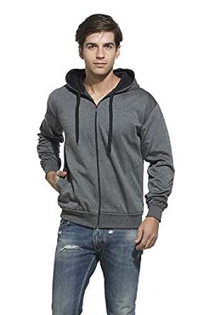 Alan Jones Men's Solid Dark Grey Sweatshirt (SS-401-DGRY-S_Small_Dark Grey)