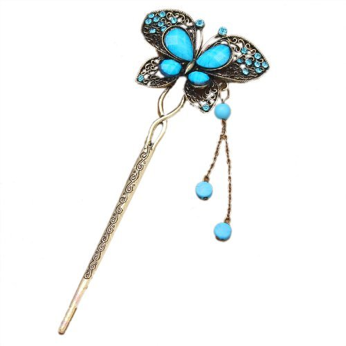 Qiyun chinois traditionnel Vivid papillon incruste de cristal strass perle en laiton antique Metal decoratif epingle acheveux de baton avec balancent Tassel - Bleu Turquoise