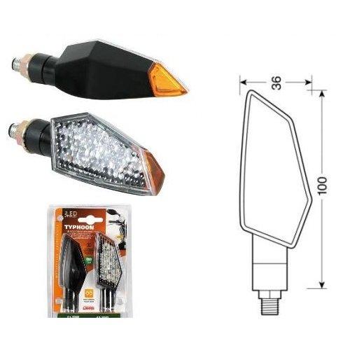 Compatible avec Honda CB 500 X ABS Paire de Clignotants à LED 12 V Indicateur de Direction pour Moto homologué Lampe 90088 Noire avec lumière Orange et lentille Blanche