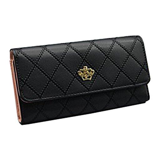 LAAT Portable PU Geldbörse Frauen Reißverschluss Wallet Crown Clutch Bag Lange Geldbörse Handtasche Tote Sacks Münze Aufbewahrungsbeutel (Clutch Wallet Handtasche Lange)
