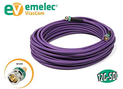 color violeta Emelec V/íasCom Q11  234 Cable v/ídeo 4K 12G-SDI 0.762//3.40//6.00, cobre libre de ox/ígeno, PVC UL no propagador de la llama, bobina 100 m