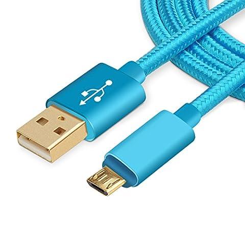 Chongsen Câble Micro 2.5A USB en nylon tressé anti-emmêlement, avec connecteurs plaqué or, pour smartphones Android, Samsung,Nokia, Sony, HTC, et autres (3m, bleu)