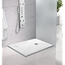 Yellowshop – Plato de ducha baño rectangular de mármol sintético, color blanco pizarra, varios tamaños; Medidas en cm: 70 x 90, 70 x 100, 80 x 100, 80 x 120, 80 x 140, con rejilla de acero inoxidable, blanco