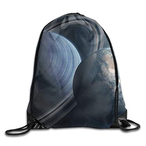 EELKKO Unisex Planets Rings Earth Print Drawstring Backpack Rucksack Shoulder Bags Gym Bag Sport Bag -