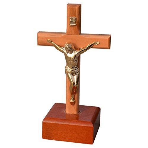 Kruzifix stehend - Standkreuz Stehkreuz Holz - Olivenholz-Kreuz auf Holzsockel, Korpus Metall, 11cm
