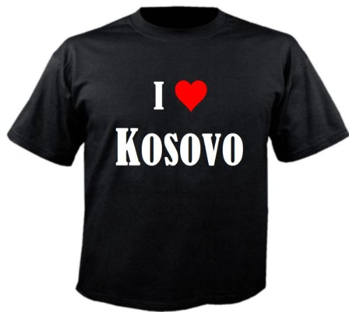 """T-Shirt """"I Love Kosovo"""" für Damen Herren und Kinder ... in der Farbe Schwarz Schwarz"""