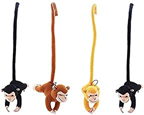 Frantic Long Arm Hanging Capuchin Monkey Stuffed Velvet Soft Plush Toy with Outstretched Velcro Hands (25cm) - Pack of 4