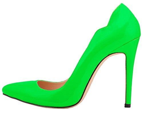 HooH Femmes Bonbons Couleur Stiletto Mariage Pumps Vert