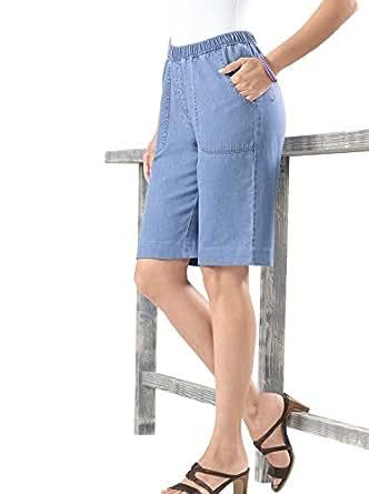 Damen-Bermuda-Jeans - blue-bleached - Gr.52 - Sieh an