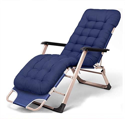 XGHW Freizeitstuhl, Gravity Garden Outdoor Courtyard Deck Chair Lounge-Bett Klappbett Abnehmbare Wattepad, bequem und atmungsaktiv, Feuchtigkeitstransport (Farbe : Blue1) (Betten Deck)