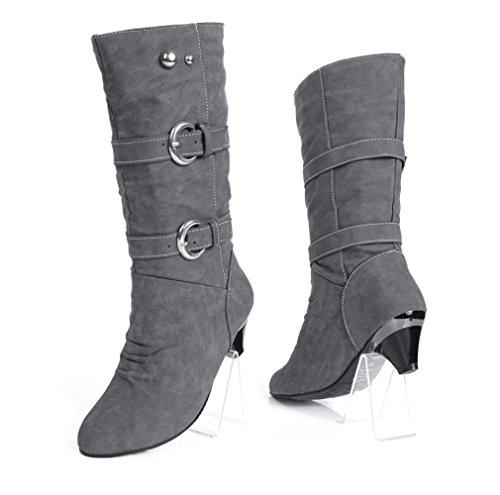 Best 4U® Damenschuhe Premium PU Stoff Metall Bukle 5.5cm High Heels High Slouch Stiefel Casual Style Herbst Winter Beige Grau , gray , 37 -