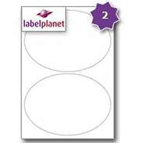 2 Per Page/Sheet 50 Sheets (100 EXTRA LARGE OVAL Sticky Labels) Label Planet® A4 White Blank Plain Matt Self-Adhesive Permanent Laser and Inkjet Printer Printable Stickers, 195 x 139 MM, UK LP2/195OV Multi-Purpose, Used For Wine Bottle