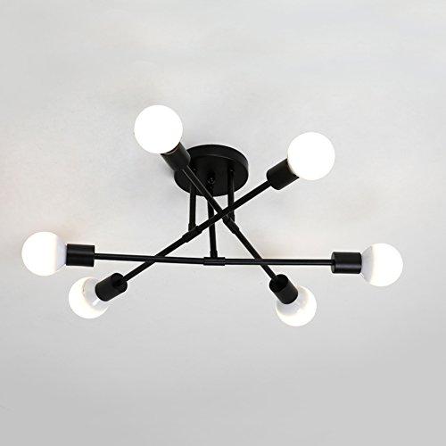 Zzatt Deckenleuchte Nordic Modern Deckenlampe E27 × 6 Kreativität Kronleuchter Schwarz Metall Schlafzimmer Lampe (Lichtquelle nicht inklusive)