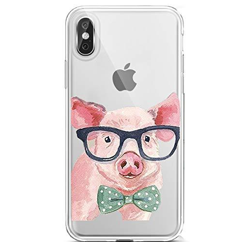 Entfernen Sie Augen-taschen (Karomenic Silikon Hülle kompatibel mit iPhone XS Max Kreative Cartoon Transparent Handyhülle Durchsichtig Schutzhülle Crystal Clear Weiche Soft TPU Tasche Bumper Case Etui,Auge Schwein)
