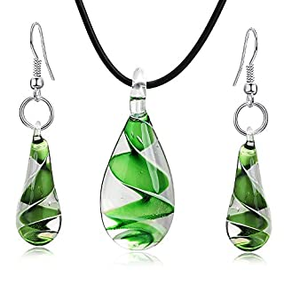 Aituo Murano inspired spiral flower coloured glaze drop necklace earrings set(Green)